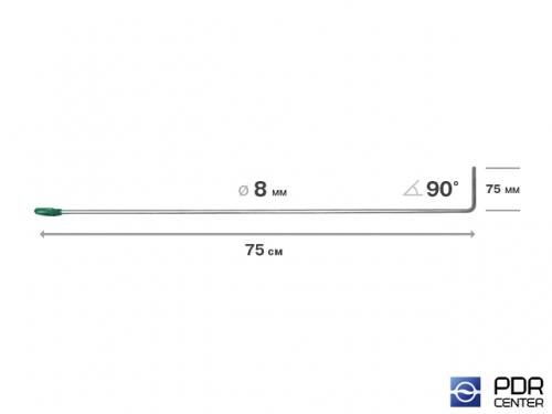 Крючок со стандартным загибом, плоский (длина 75 см,  угол загиба 90º, длина загиба 75 мм, Ø 8 мм)