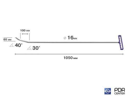 Берта с двумя загибами, острый (длина 105 см, длина 1 загиба 10 см, длина 2 загиба 6 см, угол загиба 70º, Ø 16 мм)