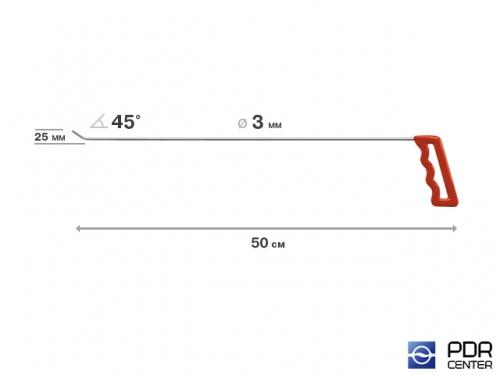 Крючок левый угловой, плоский (длина 50 см, угол загиба 45º, длина загиба 25 мм, Ø 3 мм)