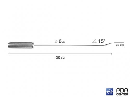 Крючок прямой, острый (длина 30 см,  угол загиба 15º, длина загиба 38 мм, Ø 6 мм)