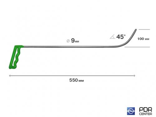 Крючок № 09 (Ø 9 мм, длина 600 мм, зеленый)