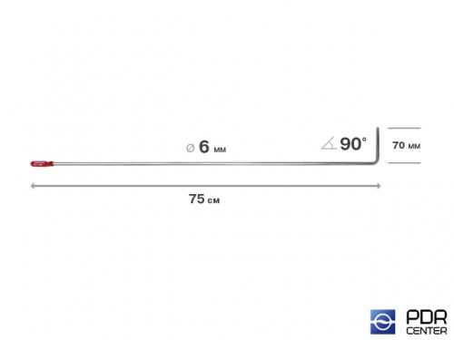 Крючок со стандартным загибом, плоский (длина 75 см,  угол загиба 90º, длина загиба 70 мм, Ø 6 мм)