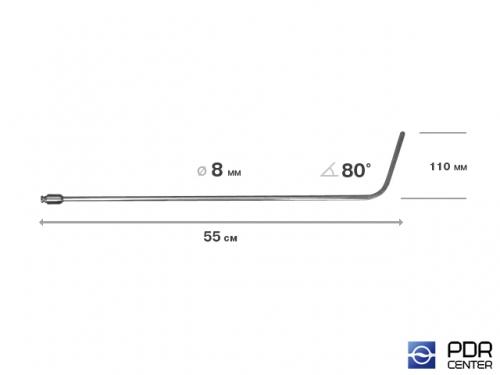 Крючок дверной, плоский, без ручки (длина 55 см,  угол загиба 80º, длина загиба 115 мм, Ø 8 мм)
