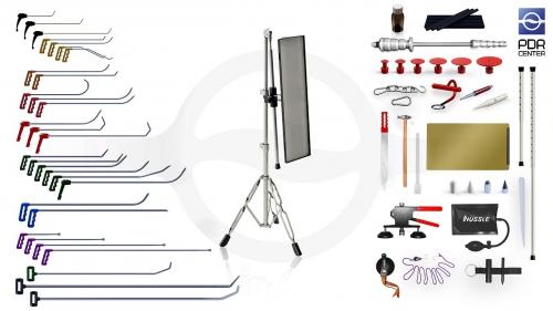 Максимальный набор со средней LED лампой Ultra Dent (30 крючков, 4 насадки, 18 аксессуаров, клеевая система, средняя лампа)