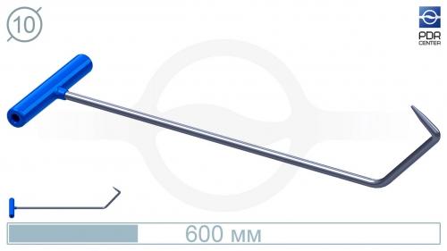 Крючок K-An Длина общая 65 см.Длина первого загиба 10 см, длина второго 5 см.Угол первого загиба 40° ,угол загиба второго 105° .Ø11 мм.