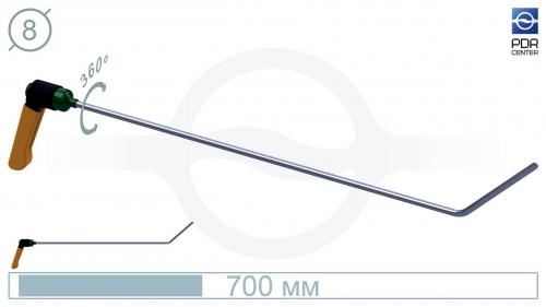 Крючок с поворотной ручкой,PR-11A Platinum Длина 65 см,длина загиба 13 см, угол загиба 45º. Ø8 мм.