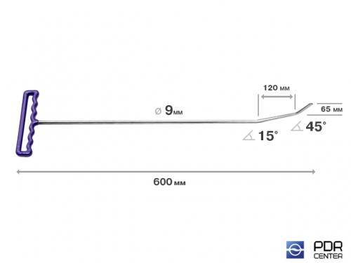 Крючок с двойным загибом, плоский (длина 60 см, длина первого загиба 12 см, длина второго загиба 6,5 см, угол загиба 60°, Ø 9 мм)