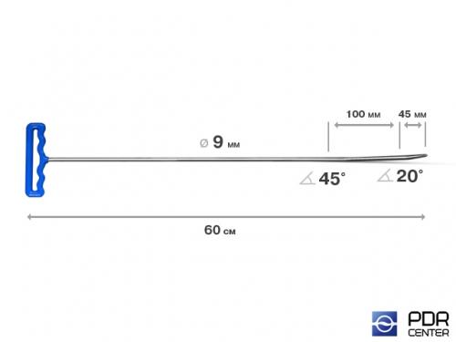 Крючок с двойным загибом, закруглённый (длина 75 см,  угол 1 загиба 45º, длина 1 загиба 100 мм, угол 2 загиба 20º, длина 2 загиба 45 мм, Ø 9 мм)