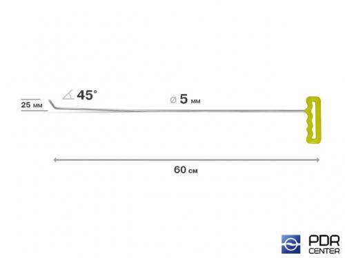 Крючок левый угловой, градовый плоский (длина 60 см, угол загиба 45º, длина загиба 25 мм, Ø 5 мм)
