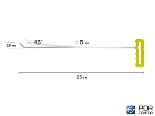 Крючок левый угловой, плоский (длина 45 см, угол загиба 45º, длина загиба 25 мм, Ø 5 мм)