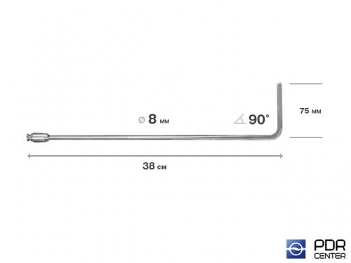 Крючок дверной, плоский, без ручки (длина 38 см,  угол загиба 90º, длина загиба 75 мм, Ø 8 мм)
