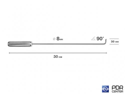 Крючок прямой под насадки A35 и A36  (длина 30 см,  угол загиба 90º, длина загиба 30 мм, Ø 8 мм)