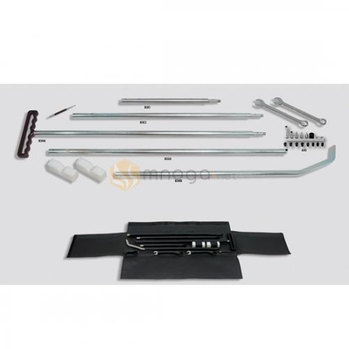 Комплект разборных крючков Ø19 мм (5 частей крючков, комплект насадок, 2 пластиковых упора, 2 гаечных ключа, керн, кожаный чехол)